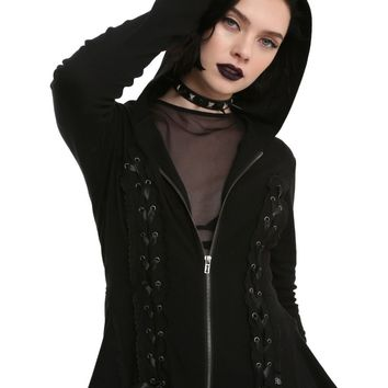Licensed cool Royal Bones by Tripp Black Lace-Up Hoodie Zipper Peplum Silhouette JRS XS S M