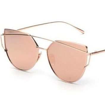 CREYUX5 mecol fashion women cat eye sunglasses classictwin beams rose gold frame sun glasses for women mirror flat lense sunglass gift number 1