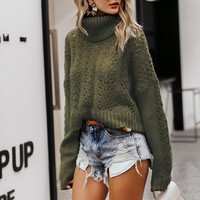Turtleneck hollow out women sweater Drop long sleeve pullover jumpers Casual streetwear ladies sweaters