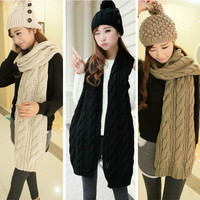Fashion Korean Winter Women Men Braided Knit Wool Long Scarf Wrap Shawl Scarves