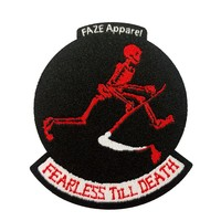 Fearless Till Death Patch in black and red