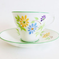 Rosina Teacup Art Deco Hand Painted Tea Cup Green Chintz Rare Tea Cup Gift Vintage Bone China Collectible Cup Saucer High Tea Gift for Her