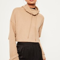 Missguided - Nude Funnel Neck Strap Cuff Sweatshirt
