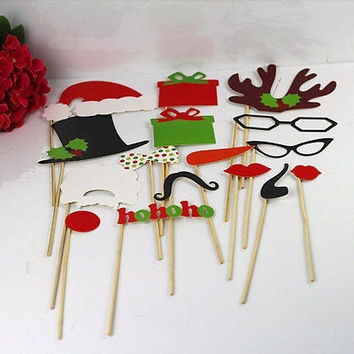 17pcs Photo Booth Props Moustache Lips On A Stick For Wedding Christmas Birthday = 1946570756
