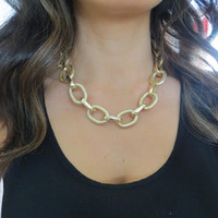 Textured Gold Link Chunky Chain Necklace