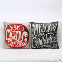 Red hot Christmas linen sofa pillow on the text Home Furnishing office Pillowcase = 1956422020