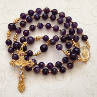 Amethyst Rosary, Miraculous Medal of Mary, Gold Crucifix, Catholic Rosaries, February Birthstone, Religious Gift, Prayer Beads