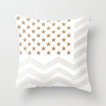 *** GATSBY Stars & Stripes *** Glitter Throw Pillow by Monika Strigel for more silver gold feeling!