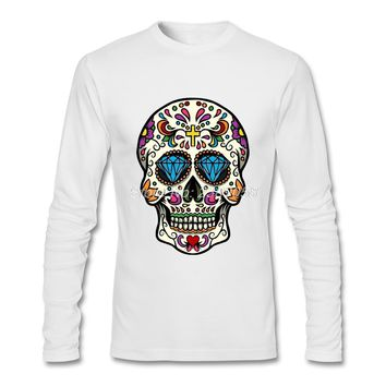 New Style Men Long Sleeve T Shirt Mexican Skull Normal Casual Tee shirts Cotton Mens Clothing