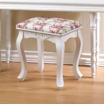 Shabby White Chic Vanity Floral Oasis Foot Stool