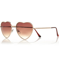River Island Womens Gold tone heart frame sunglasses