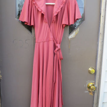 70s Jody  t  California Flirty rose Fuschia    wrap dress sz 7 butterfly sleeves