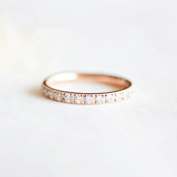 crystal band ring - rose gold titanium