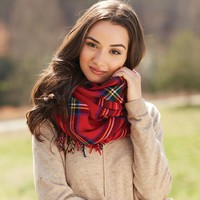 Ava Tartan Scarf Wrap by Mud Pie