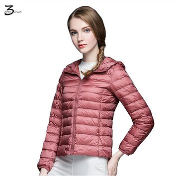 XMY3DWX High-end fashion women winter 90% white duck down down jacket/femininity Super light thin Hooded down coat S-XXXL