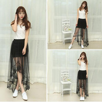 Summer Long Black Lace Skirt