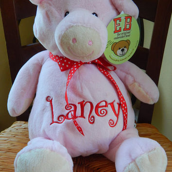 Personalized Stuffed Animal - Pink Pig
