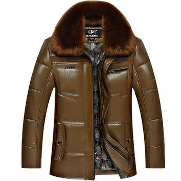 Men's Faux Leather Coats Fur Collar Winter Warm Jackets Fashion  Male Leather Jacket