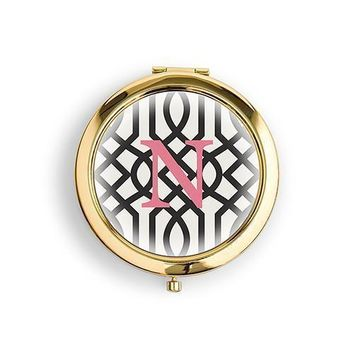 Designer Compact Mirror - Monogram on Trellis Print Gold Gold (Pack of 1)