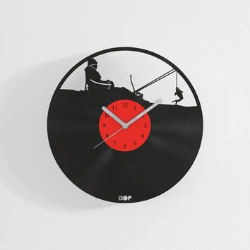 Fisherman wall clock from upcycled vinyl record (LP) | Hand-made gift for fishing fan | Music lover home wall decoration, fisherman present