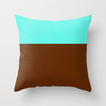 Teal and Brown Throw Pillow Cover, 18x18 pillow cover, indoor or outdoor pillow cover, colorblock pillow cover