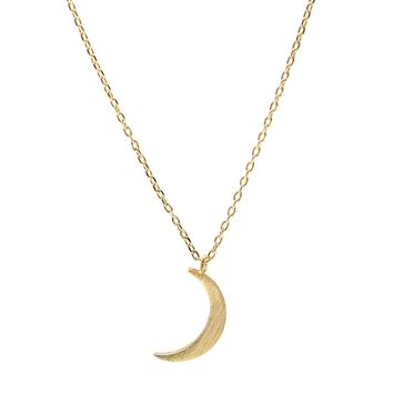 Handcrafted Brushed Metal Crescent Moon Necklace