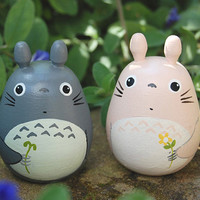 2 Tototor Dolls pink and gray Studio Ghibli toy  Figurine  (Size L 4 6)