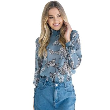 Floral Printed Chiffon Blouse - Casual Long Sleeve Turtleneck