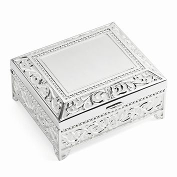 Silver-plated Floral Square Jewelry Box - Engravable Personalized Gift Item