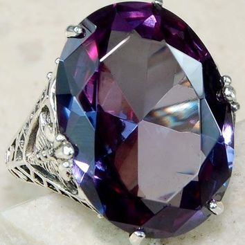 Color Changing Alexandrite 925 Solid Sterling Silver Art Deco Ring Sz 6-10