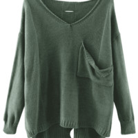 V Neck Cutout High Low Sweater