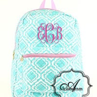 Monogrammmed quilted Aqua Quatrefoil backpack