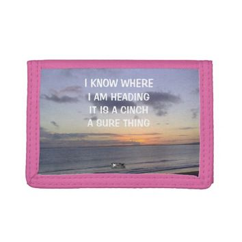 Cinch Photo Quote by Kat Worth Trifold Wallets