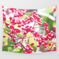 Red fruit Wall Tapestry by Yumehana Design Fine Art Photography