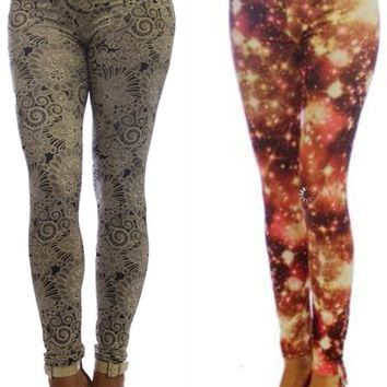 2 Pack Fashion Print Women's Leggings