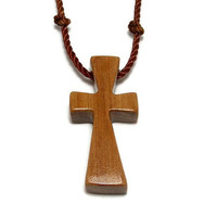 Simple Cross Necklace, Wooden Cross Jewelry, Cross Necklace, Handmade Australian Cypress Necklace, Gifts under 20