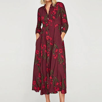 Turn-down Collar 3/4 Sleeve Floral Print Plaid Midi Dress - NOVASHE.com