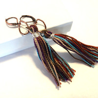 Turquoise and Purple Tassel Dangle Lever Back Earrings