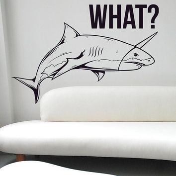 I165 Wall Decal Vinyl Sticker Art Decor Design shark fin teeth graffiti that question funny danger boy Design Mural