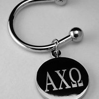 Alpha Chi Omega ΑΧΩ Greek Letter Disk Key Ring Silver Plate Non Tarnish Mccartne