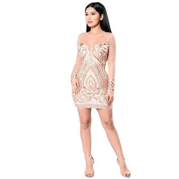 2017 Summer Mesh Sleeve Women Gold Black Geometric Pattern Sequin Bodycon Dress Womens Sexy Dresses Party Night Club Dress