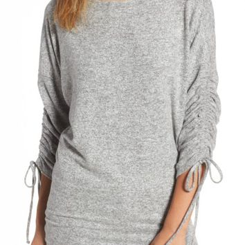 Gibson Tie Sleeve Cozy Fleece Top (Regular & Petite) | Nordstrom