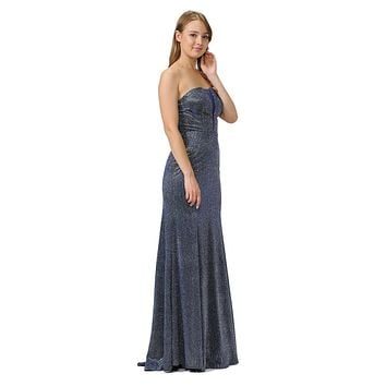 Royal Blue Sheer Cut-Out Bodice Long Strapless Prom Dress