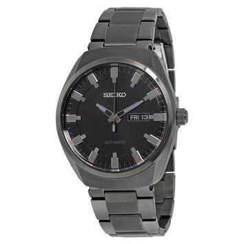 Seiko Recraft Automatic Black Dial Black Ion-plated Mens Watch SNKN43