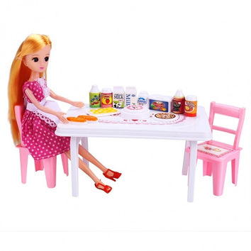 Baby Kids Party Dinner Table Chair Drinks Foods And Beauty Doll Toys Set