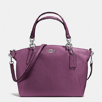 New Authentic Coach F36675 Leather Small Kelsey Satchel Crossbody/Shoulder Purse Handbag Mauve Purple