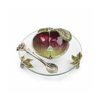 Variegated Apple Honey Dish by Quest, Serving Pieces In Green::Red Size: 3.25' X 3.75