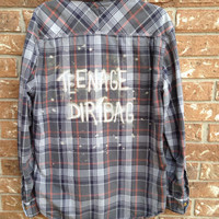 Plaid teenage Dirtbag bleached shirt // soft grunge