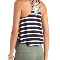 Strappy Crochet-Back Striped Crop Top by Charlotte Russe - Navy Combo