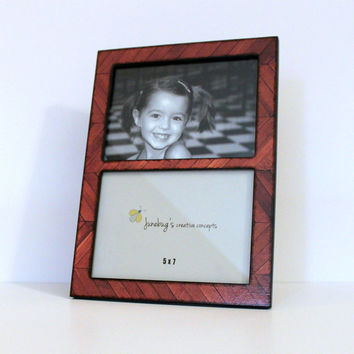 Double 5x7 Wood Picture Frame Brown Wood Chevron